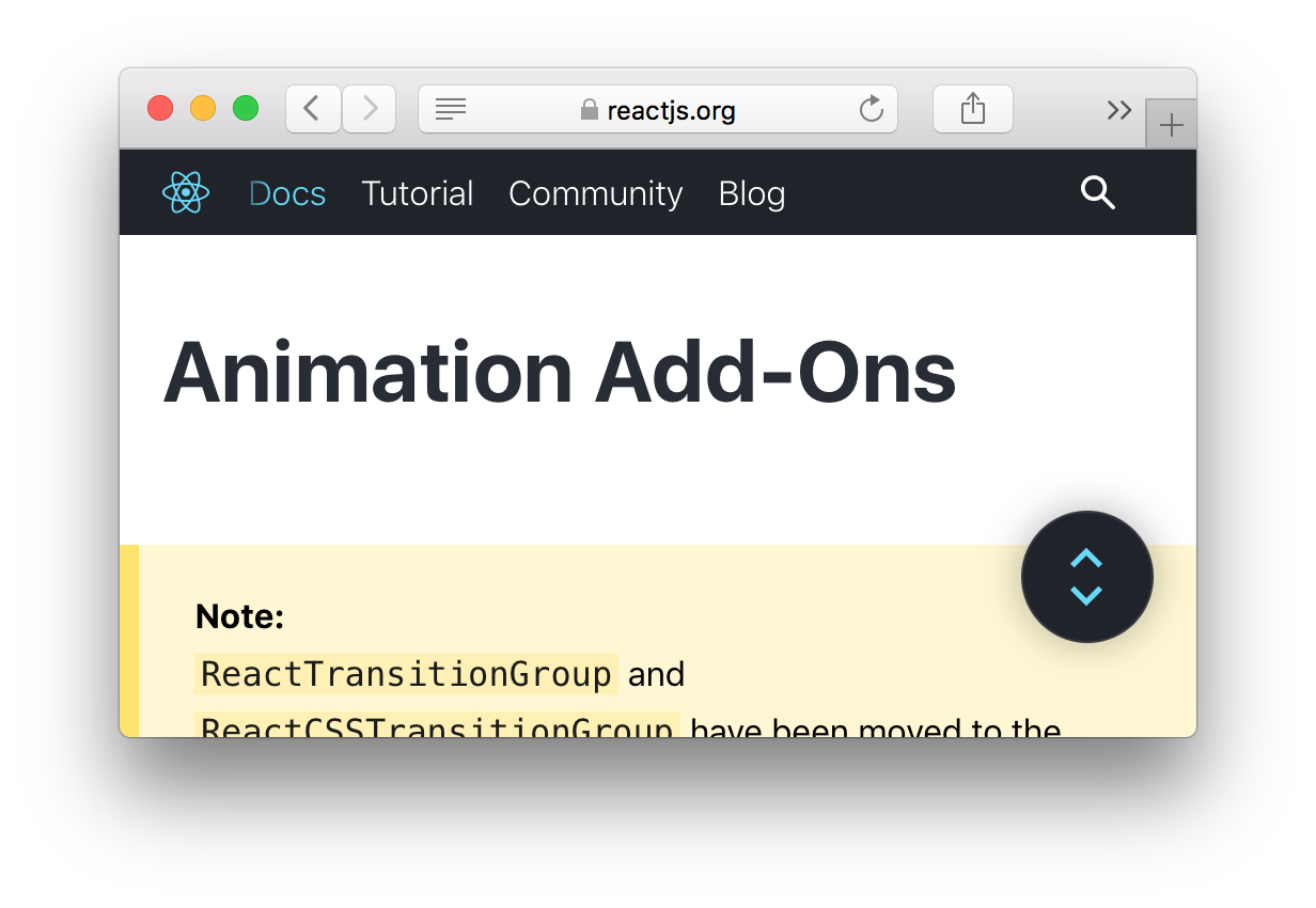 react animations with add-on ReactCSSTransitionGroup