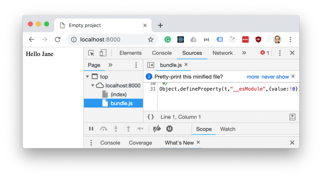 How to debug a webpack app in the browser | blog jakoblind no